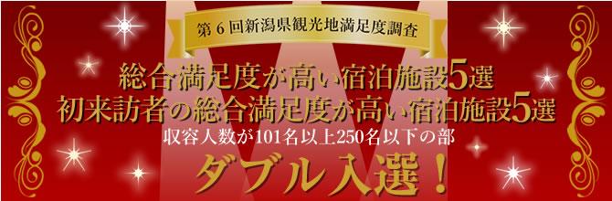 第6回新潟県観光地満足度ダブル入選
